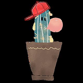 手绘植物盆栽主题插画-仙人掌