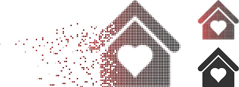 房屋,无人迹,计算机图标,像素化,浪漫,明亮,红色,黑色,爱,点染