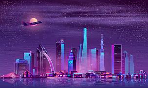 城市,夜晚,现代,都市风景,卡通,商务,黄昏,雪,河流,散步道