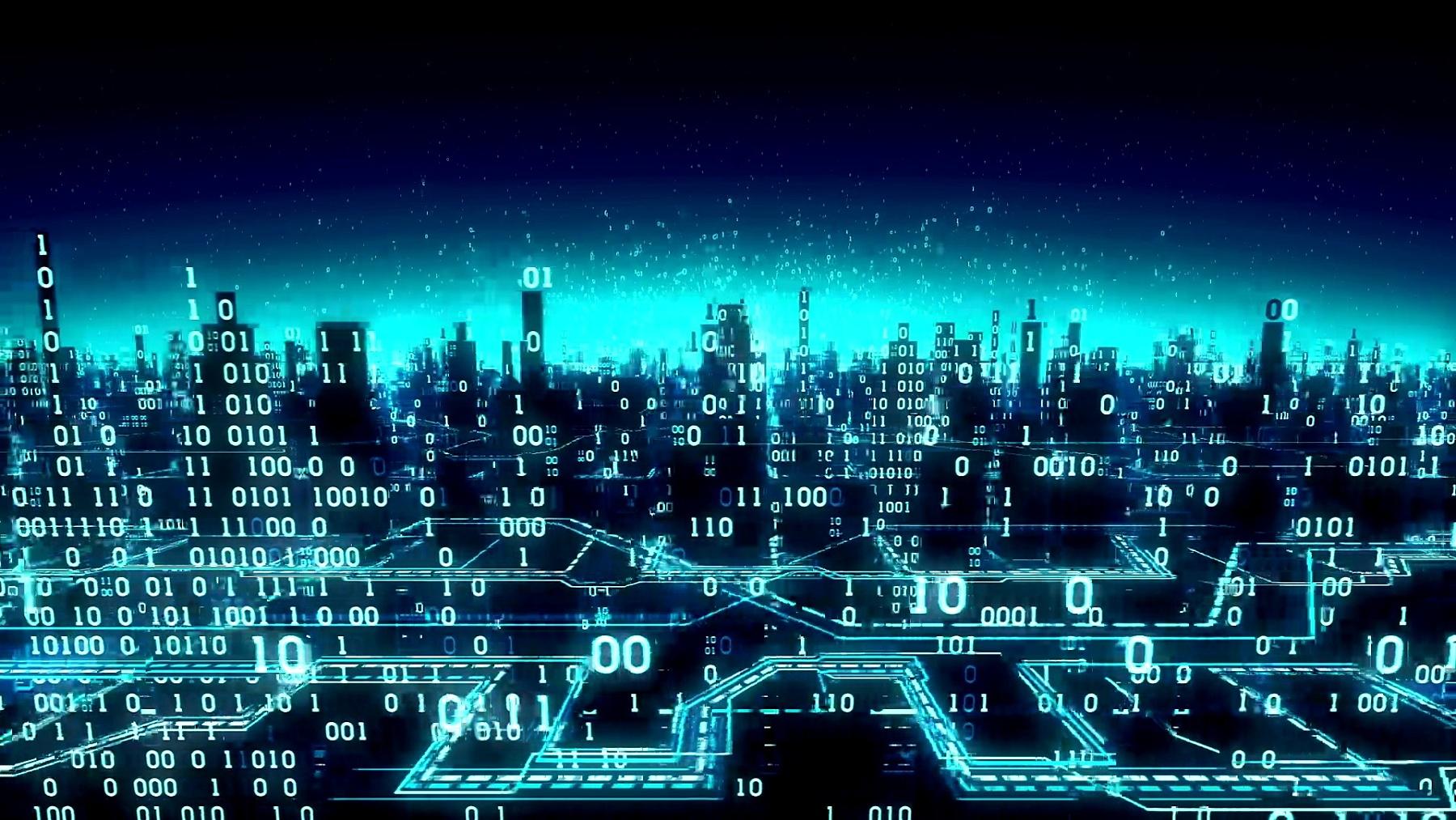鸟瞰抽象的未来主义二元城市,高科技背景,数字阵列连接到全球网络,矩阵,无缝环路,阿尔法哑光