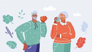 老年男人,女人,苹果,清新,食品,工作年长者,水果,绘画插图,幸福,衣服