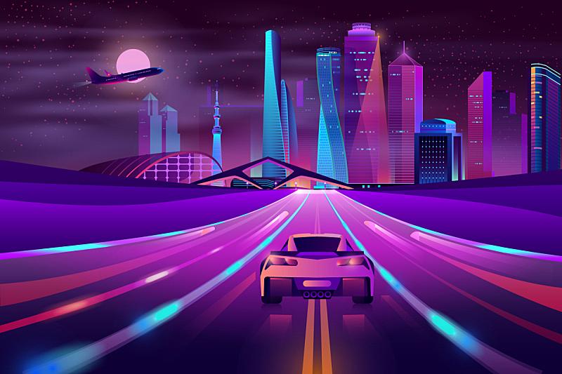 城市,未来,公路,卡通,霓虹灯,夜晚,汽车,紫色,光,概念