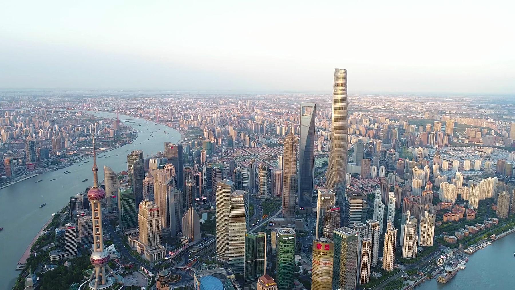 无人机拍摄 上海天际线 鸟瞰
