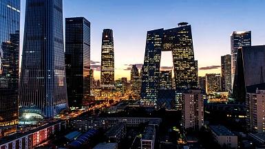 北京市中心的城市风光从早到晚。