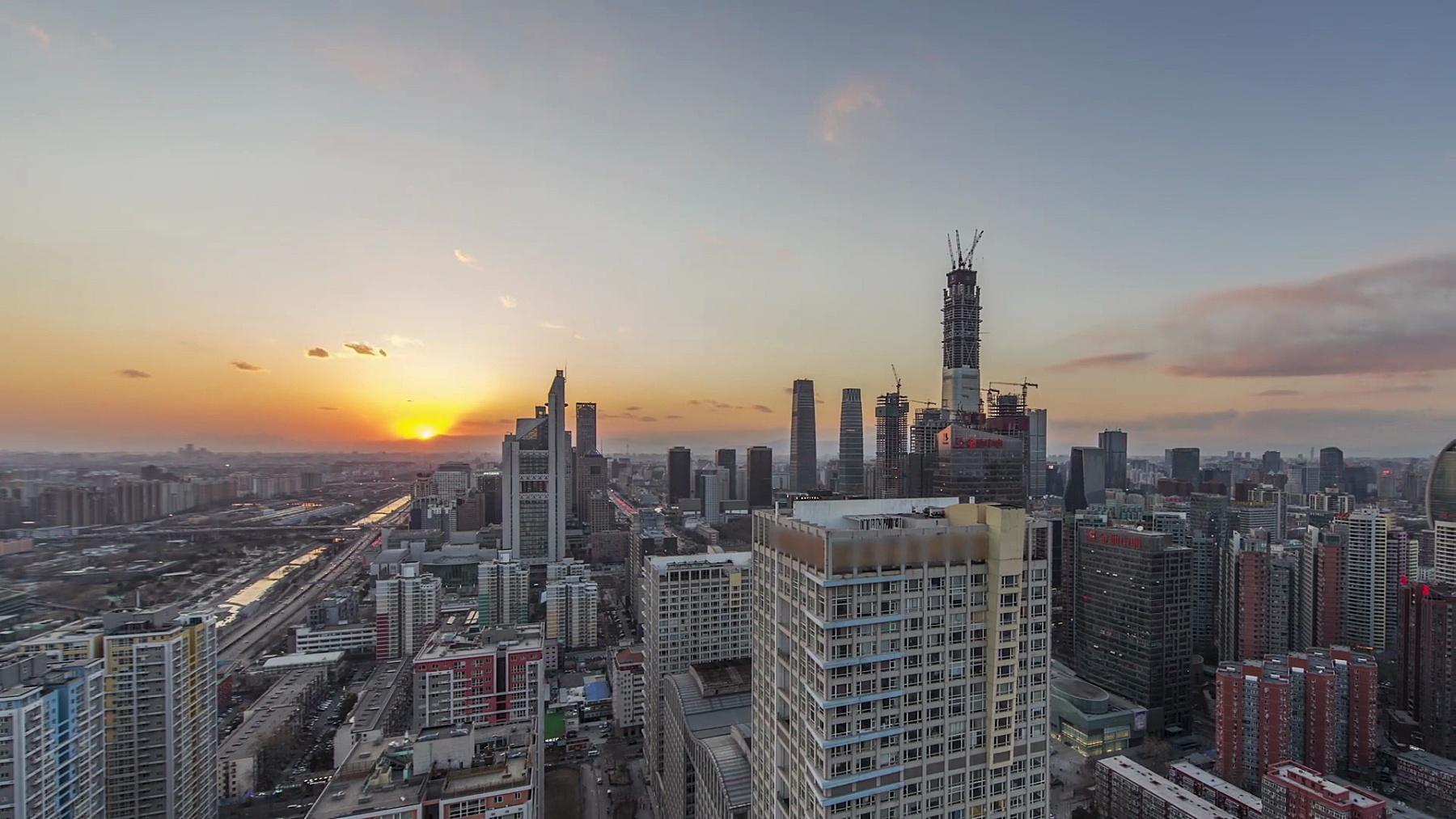 T/L WS HA PAN北京市中心,日落到黄昏过渡/中国北京