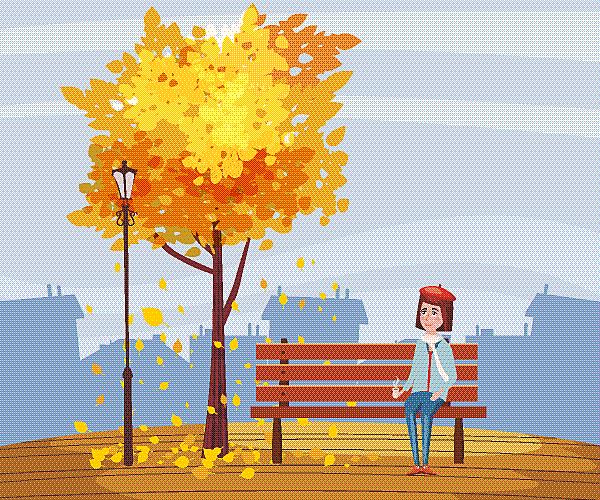 秋天,杯,长椅,幸福,女孩,秋分,矢量,公园,坐,树