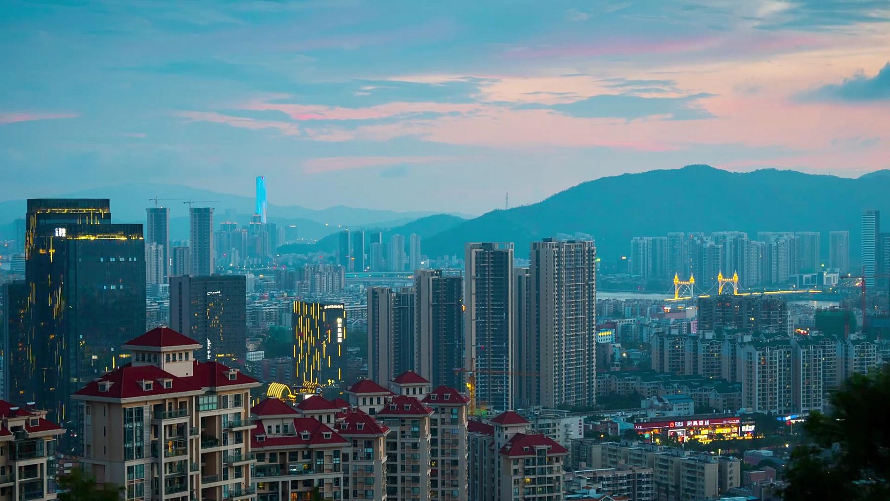中国曙光珠海名山公园顶城市景观航空全景图 延时