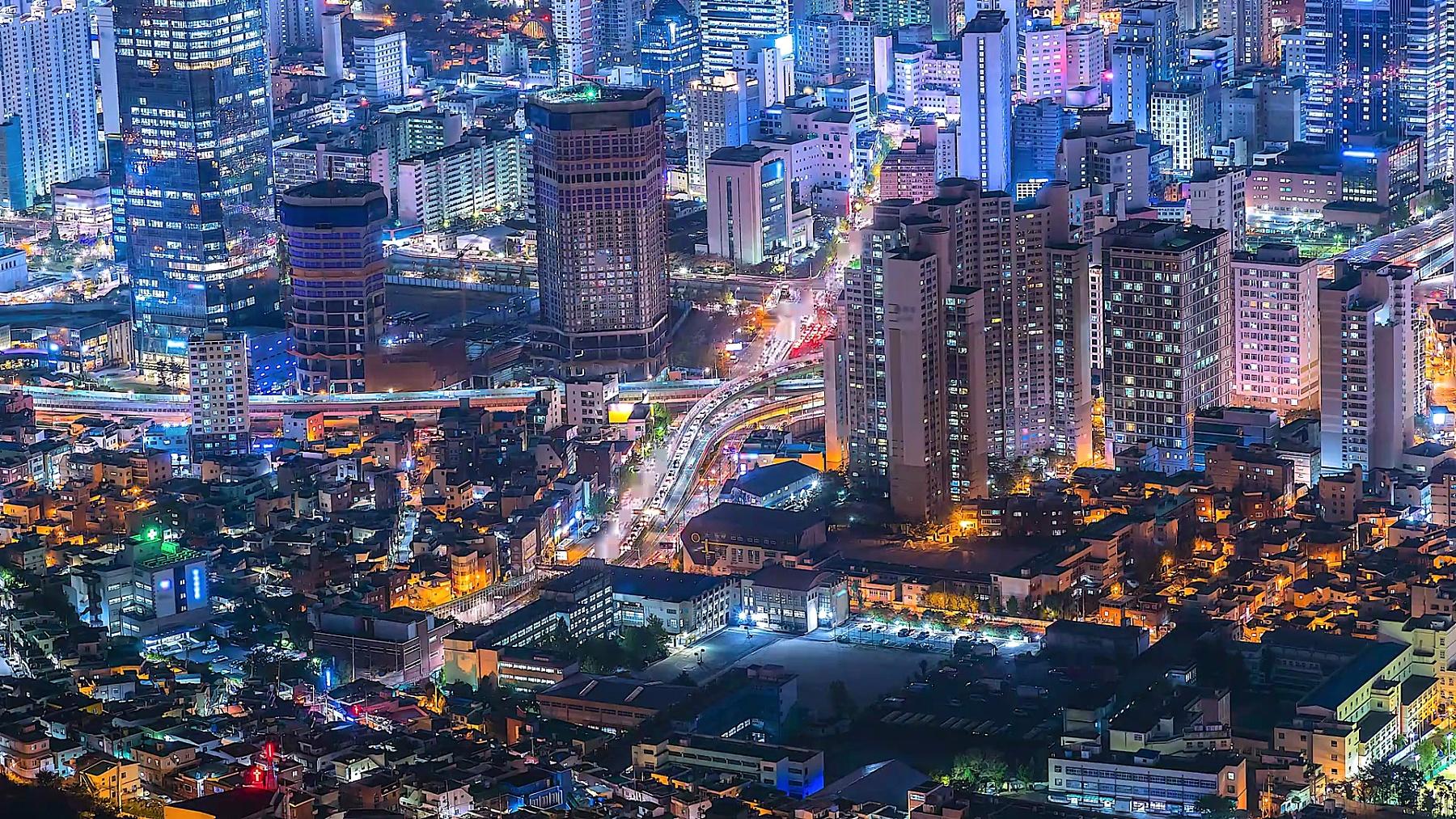 ,韩国夜晚的延时城市景观