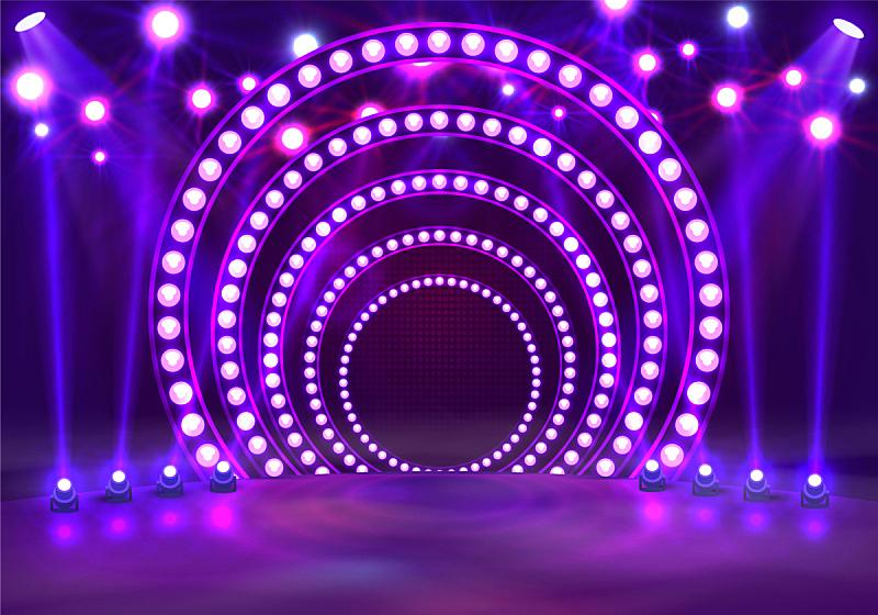 紫色,指挥台,有奖电视大赛主持人,舞台,夜晚,闪亮的,窗帘,底座,点燃,装饰