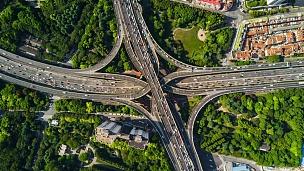 中国晴天上海城市风光著名交通道路交叉口空中全景 延时摄影