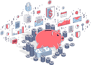 小猪扑满,对话气泡框,商务,家庭,直的,猪,图表,堆,叠