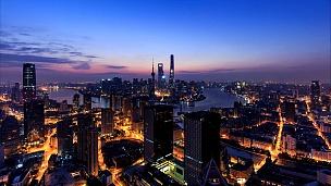 上海天际线与城市景观的昼夜延时摄影