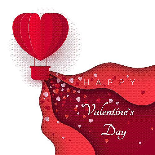 happy valentines day greeting card with paper cut