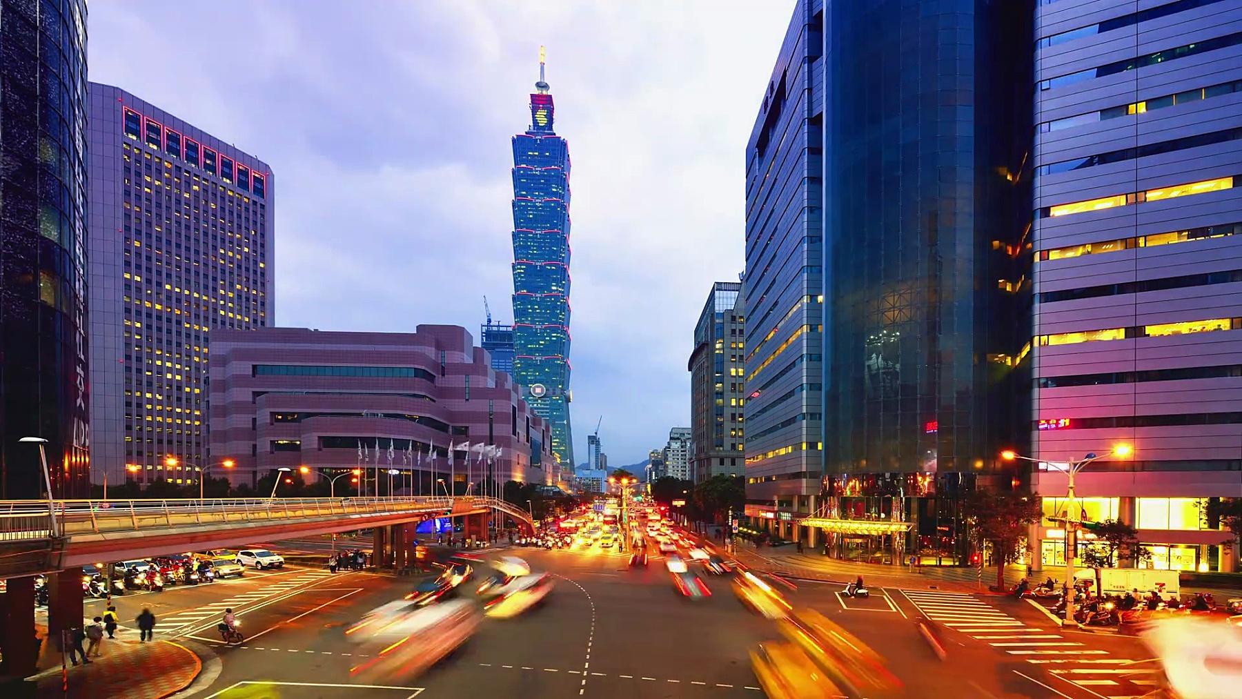 台北城市风光和台北101塔,日落到夜晚