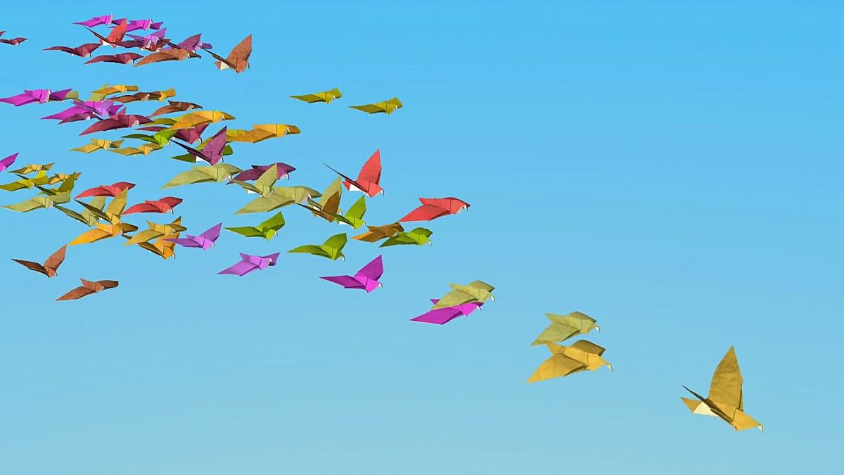 在折纸的秋天鸽子飞走了