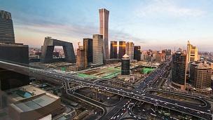 中国北京的摩天大楼。 时间间隔