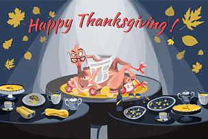 火鸡,可爱的,蔬菜,传统,请柬,食品,问候