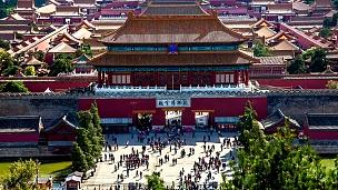 中国北京故宫博物院后门的不同景观