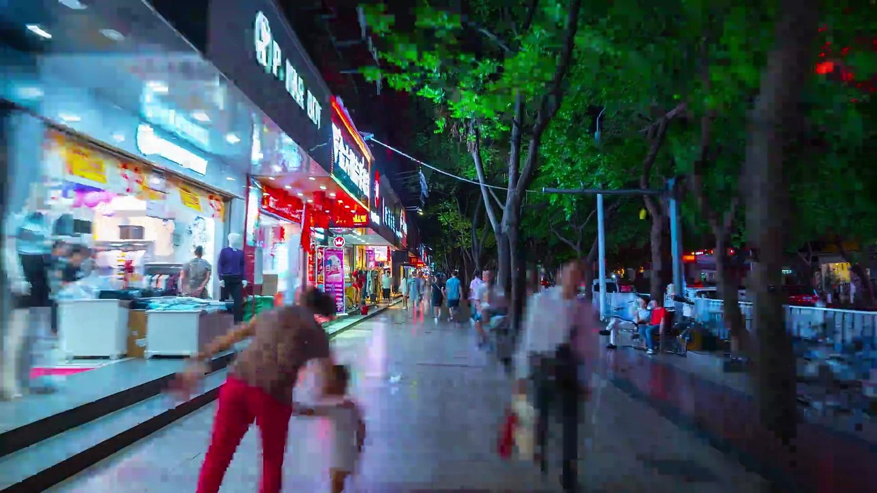 中国夜景珠海市步行街步行全景  timelapse