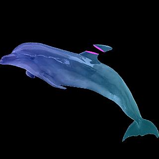 蒸汽波贴纸-海豚