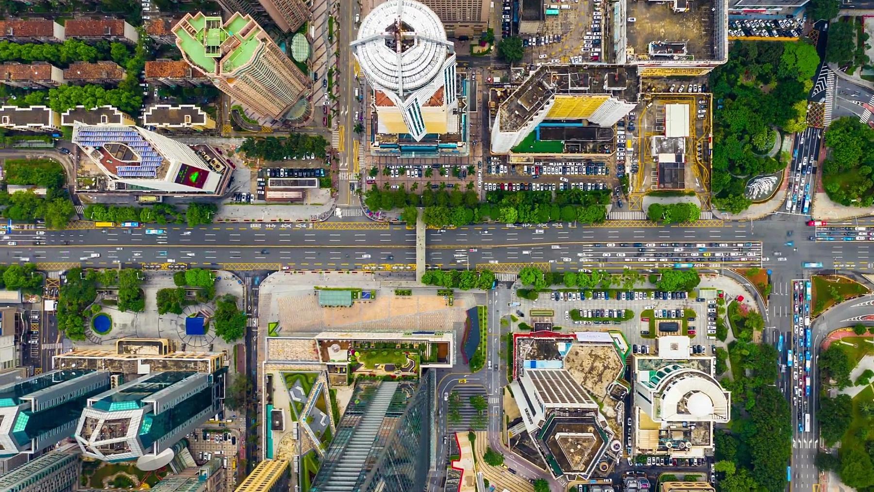 日间深圳交通街十字路口空中自上而下时间 中国