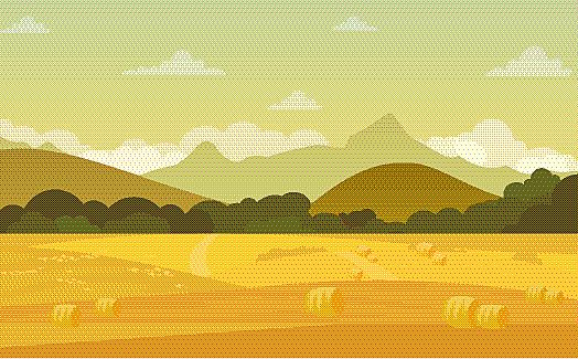 秋天,地形,乡村,自然美,插画,矢量,风景,农业,云,草