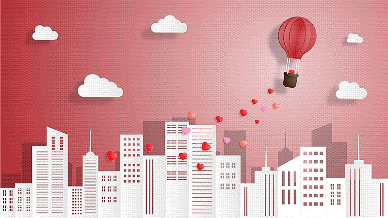 情人节,创造力,背景,城市,白昼,白色,红色,纸,可爱的