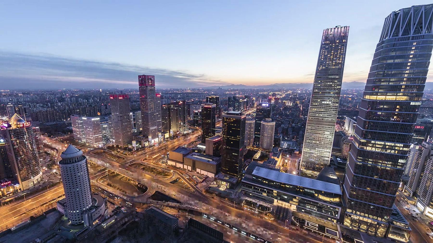 延时摄影-中国北京的未来城市景观