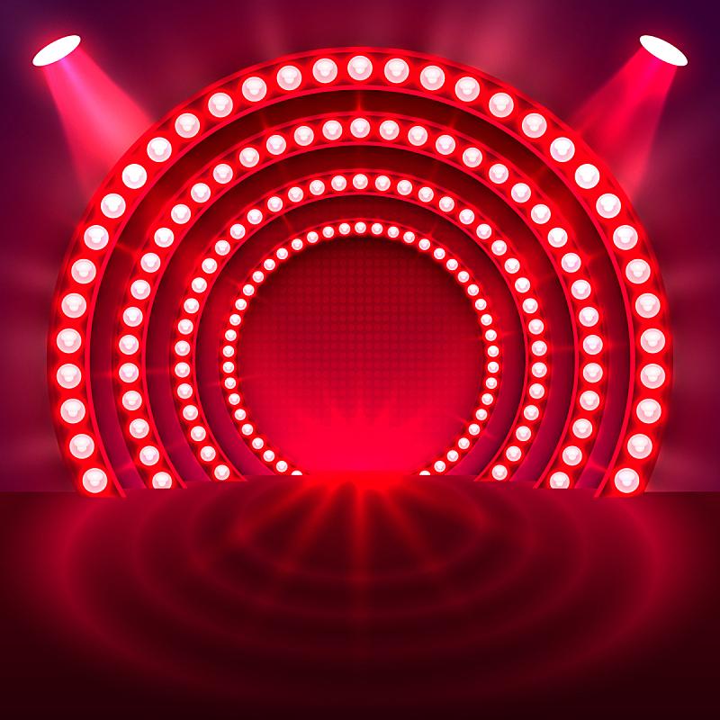 指挥台,有奖电视大赛主持人,红色背景,舞台,夜晚,红色,闪亮的,窗帘,底座,点燃
