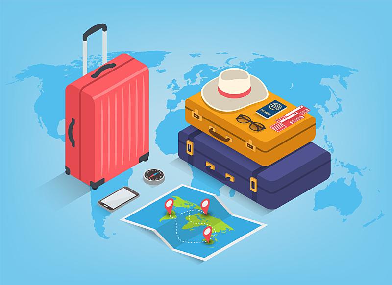设备用品,高雅,旅行者,夏天,三维图形,概念,旅途,旅行,旅游,冒险