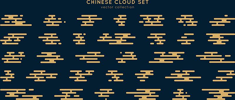 亚洲,华丽的,传统,云,风,品牌名称,东方人,形状,轮廓,布置