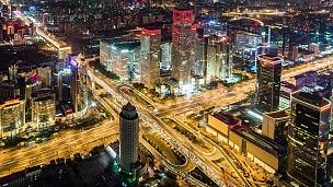 T/L MS HA PAN夜间北京繁忙立交桥鸟瞰