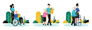 绘画插图,卡通,人,志愿者,矢量,职业,老年人,关爱,协助