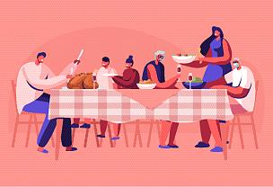 家庭,晚餐,巨大的,传统,蔬菜,事件,父母,庆祝,午餐