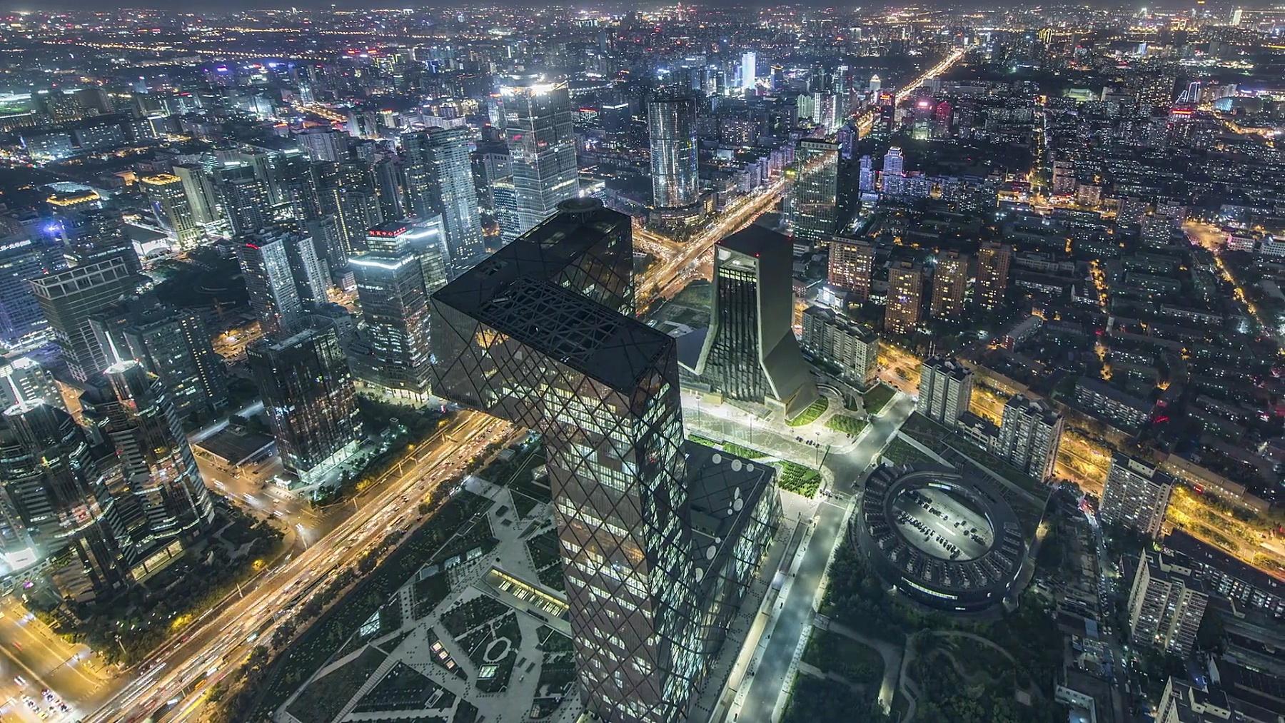T/L WS HA PAN夜间/北京CBD区域鸟瞰