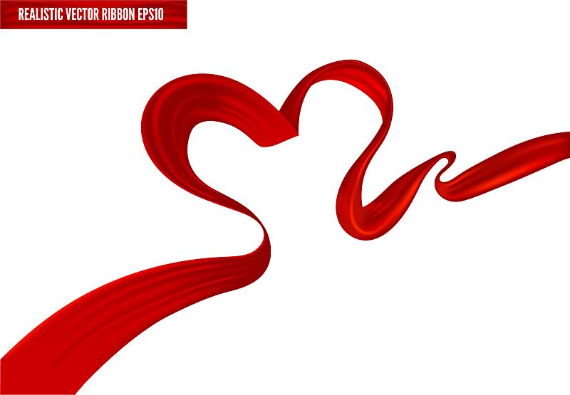 动物心脏,艾滋病警示丝带,缎带,红色,矢量,纺织品,礼物,丝绸,写实,挥手