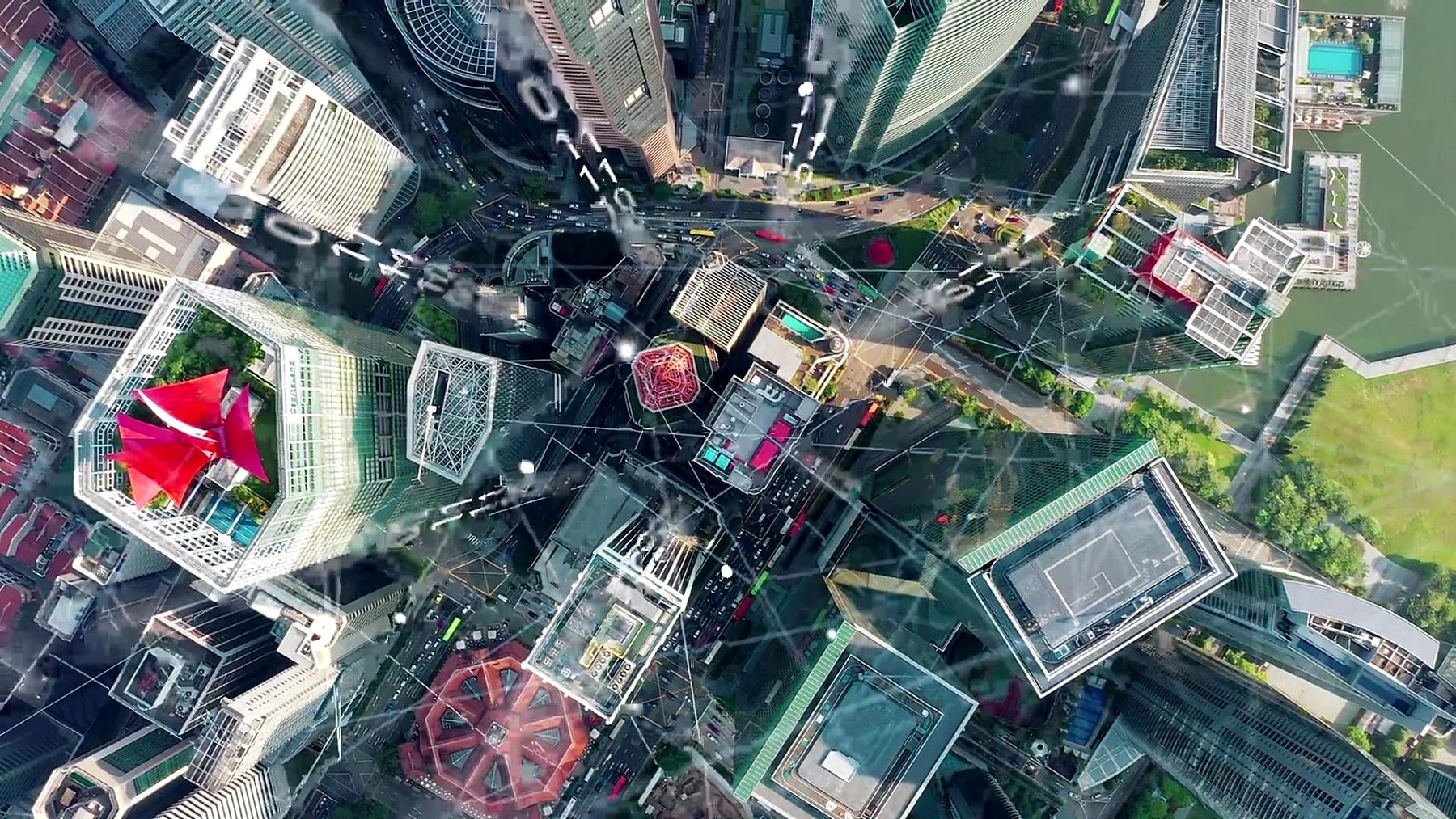 鸟瞰新加坡现代城市和通讯网络,智慧城市。物联网。信息通信网。传感器网络。智能电网。概念摘要和工业4.0