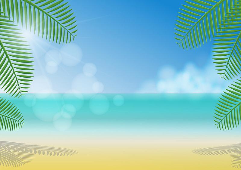 夏天,海滩,背景,树荫,地形,户外,季节,白色,旅行,旅游