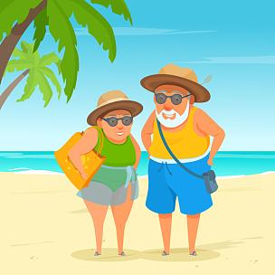 祖父,海滩,祖母,老年伴侣,太阳镜,幸福,晴朗,鸡尾酒,动作,白昼