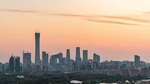 T/L PAN北京天际线大角度视图,日夜过渡