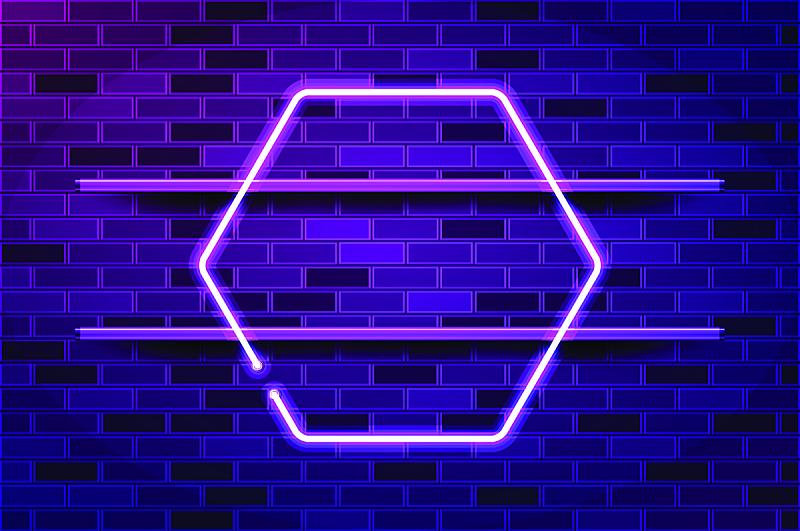 矢量,六边形,绘画插图,边框,紫色,霓虹灯,商业广告标志,空的,暗色,一个物体