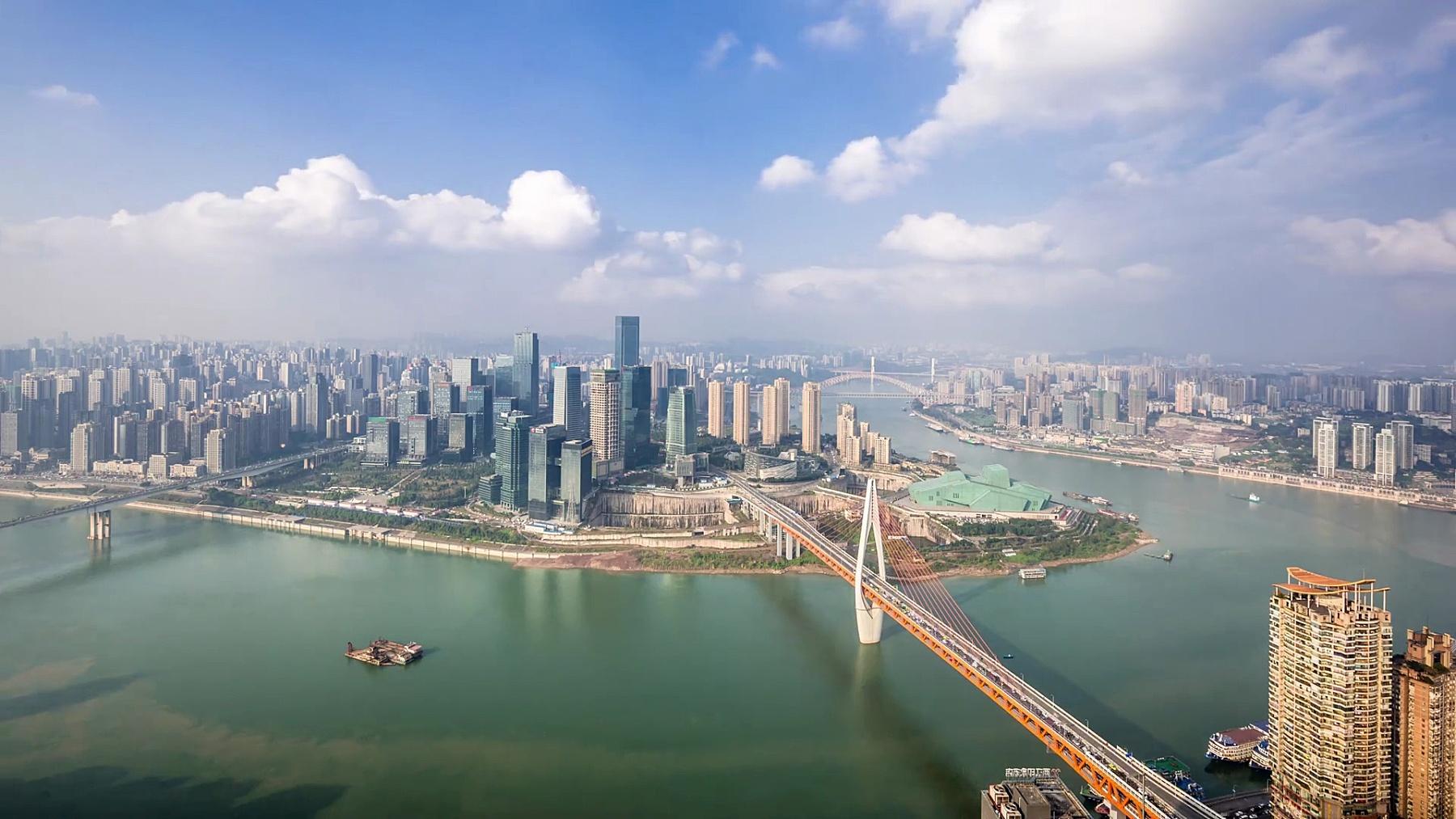 近江现代城市景观。延时