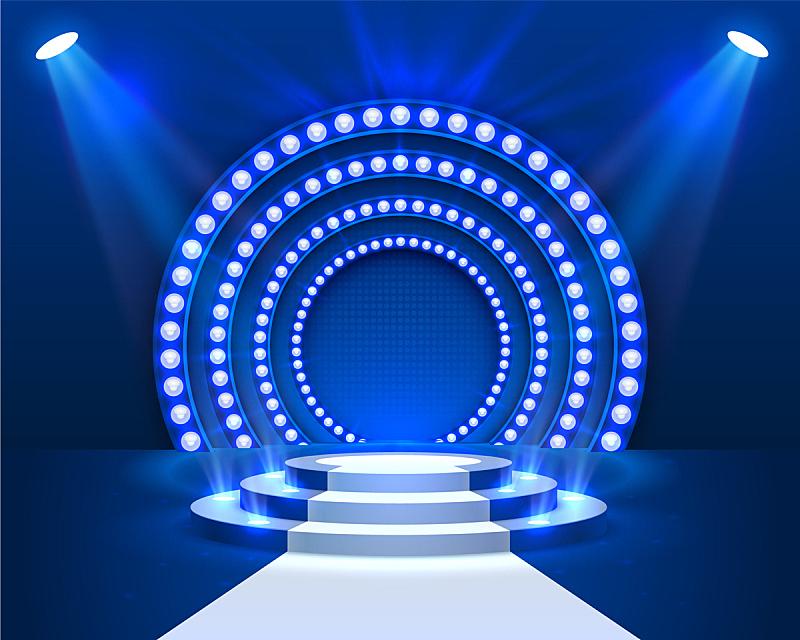 舞台,指挥台,景象,颁奖典礼,明亮,圆形,三维图形,蓝色,发光,照亮