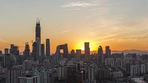 T/L TU北京市中心,日落/北京,中国