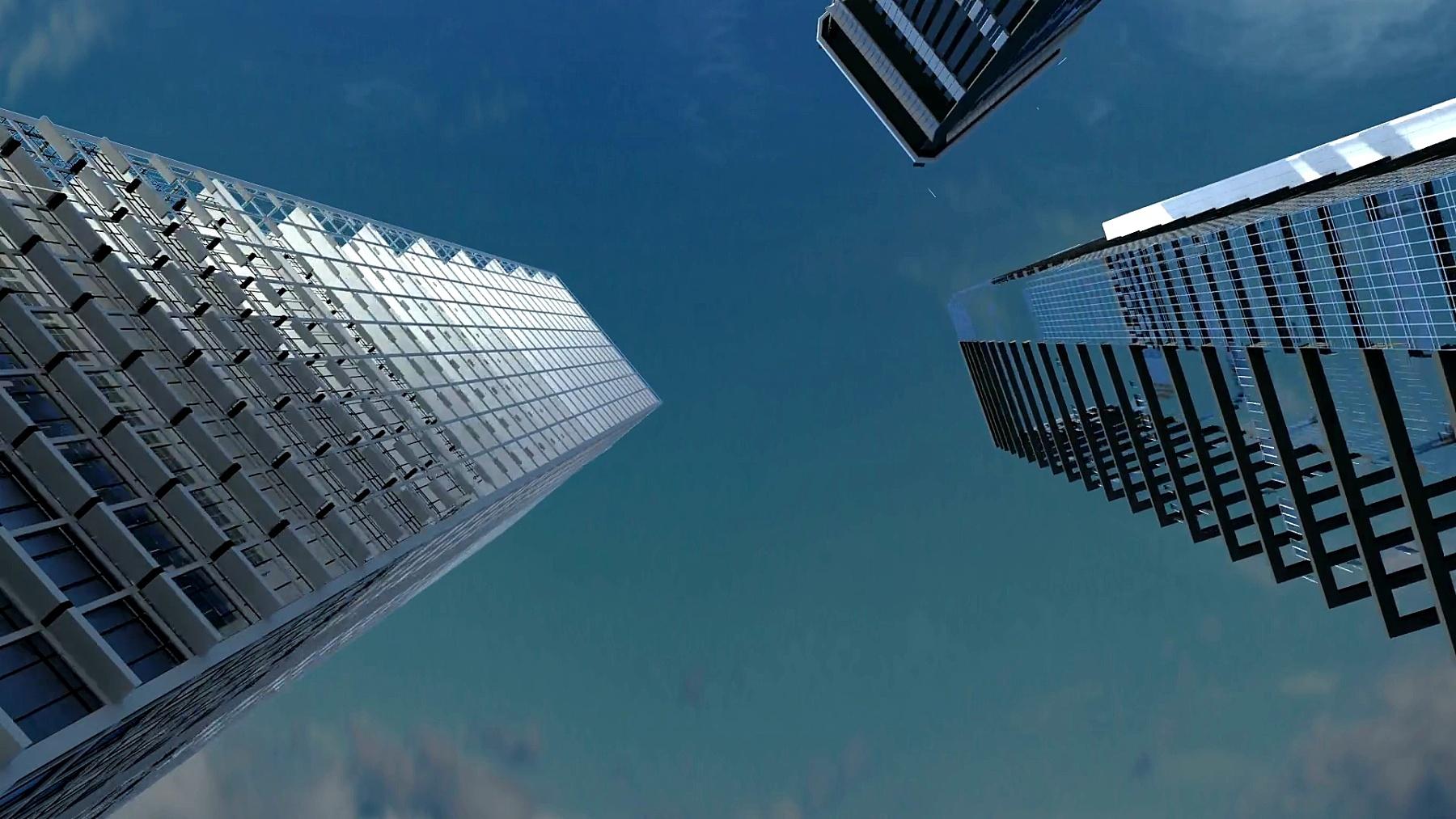 建筑技术,建筑城市的天际线在数字显示。