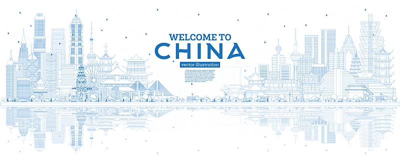 城市天际线,轮廓,蓝色,建筑外部,城市,杭州,矢量,佛山