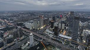 T/L WS HA PAN北京天际线大角度视图,从早到晚