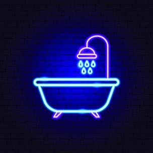 霓虹灯,浴盆,商务,旅途,汽车旅馆,客房预订,水坑,壁炉,绘画插图,熔锅
