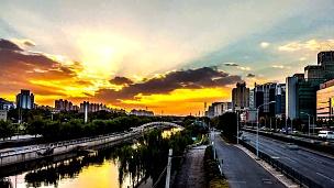 北京中央商务区天际线日落。时间间隔