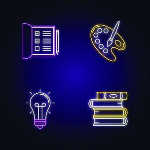 业余爱好,画笔,矢量,调色板,清单,艺术家,电灯泡,霓虹灯,计算机图标,标志